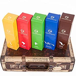 Coffeepolitan Geschenkset – Kaffee aus 5 Kontinenten – grob gemahlen 5 x 9 Portionen (5 x 63g) – eine ausgefallene Geschenkidee zu Weihnachten oder zum Advent
