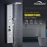 Auralum - Panel de Ducha Moderna Acero Inoxidable con Pantalla Digital De la Temperatura del Agua 4 salidas Columna de Hidromasaje para Baño, Color Plata, Altura 1250 mm