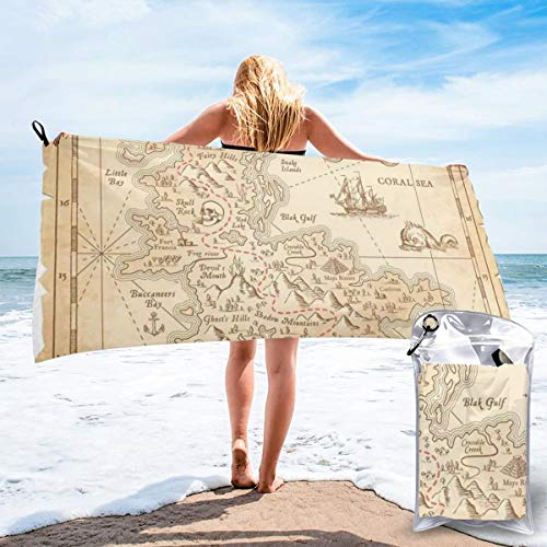 Old Ancient Antique Treasure Map with Details Retro Color Adventure Sailing Pirate Print Beach Bath Towel Fast Drying Absorbent Towels for Camping, Backpacking, Gym, Sports, and Swimming 27.5