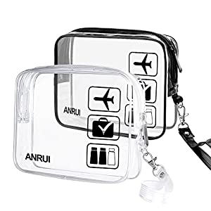 2pcs/Pack ANRUI Toiletry Bag with Strap, TSA Approved Carry On Airport Airline Compliant Bag Quart Sized 3-1-1 Kit Travel Luggage Pouch (Clear+Black)