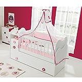 Mitwachsendes Babybett Kinderbett mit integrierter Wickelkommode und Wipp-Funktion, 70x130 cm