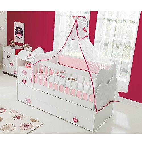 *Mitwachsendes Babybett Kinderbett mit integrierter Wickelkommode und Wipp-Funktion, 70×130 cm*