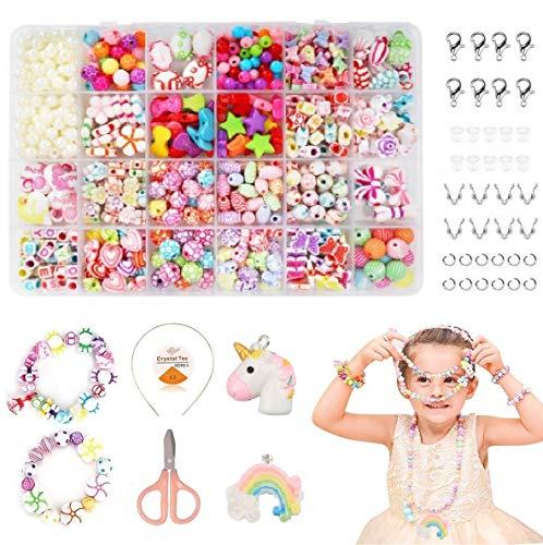 Coolba Perlen zum Auffädeln, DIY Perlenschmuck Selber Machen Kinder,DIY Armbänder Set, Bunte Perlen Schmuck Basteln Mädchen Freundschaftsarmbänder Halsketten Schnurset für Mädchen Kinder, 24 Farben