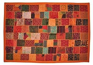 Motif traditionnel fait main Sari tapisserie ancienne murale Centimeter 102 X 152 mm