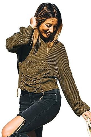 Longwu Art und Weise Frauen feste Batwing Hülsen-Verband-Blusen-Knit schnüren sich oben Jumper Pullover Strickjacke (XS-M) ArmyGreen