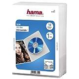 Hama Slim 00083890 DVD-Hülle (extra schmal, mit Folie zum Einstecken des Covers, geeignet für CDs und Blu-rays) transparent, 10er-Pack