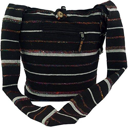 ... Baumwolle, 40x35x25 cm, Bunter Stoffbeutel Schwarz. Guru-Shop Sadhu Bag  Gestreift, Goa Tasche Schulterbeutel - Schwarz, Herren/Damen