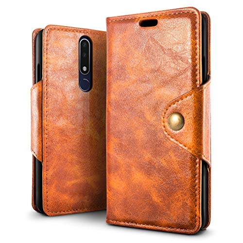 SLEO Hülle für Nokia 3.1 Plus, Retro PU Lederhülle Wallet Deckel mit Kartensteckplätze Tasche für Nokia 3.1 Plus - Braun