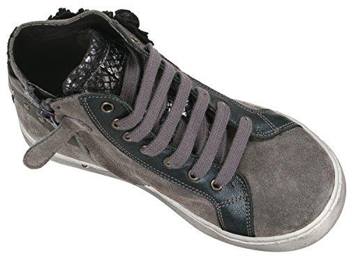 clic! CL- 8924/C DE goldener hoher Sneaker mit 3D Blumen, Mädchen Grau (Anthrazit)