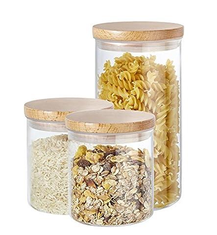 Kit 3 pièces boîtes à provisions Buonostar en verre/bois naturel. Bocaux en verre borosilicate avec couvercle en bois naturel et joint en silicone.