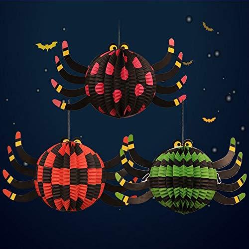 AYUQI Halloween 3-er Papier Laternen Zum Aufhängen 3D Spider Faltbar Papier Laterne für Halloween Party Dekorationen