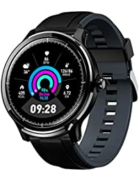 Gokoo Smartwatch Bluetooth Herren Männer Fitness Full-Touchscreen IP68 Wasserdicht Sportuhr mit Schrittzähler Kalorienzähler Informationserinnerung Blutdruckmessung für Android IOS(Dunkelgrau)