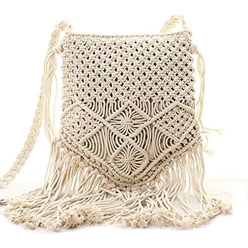 Bohemian Boho Sommertasche aus Stroh, handgefertigt, Pompon, Quasten, Stricken, Crossbody-Tasche, lässige Schultertasche, wie abgebildet - Häkel-clutch Handtasche