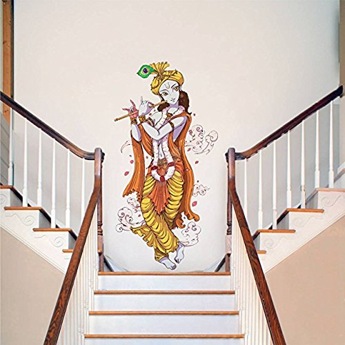 Wow Interiors Lord Krishna With Flute Spiritual Wall Sticker ( Wall Coverage Area - Height 90cm)  available at amazon for Rs.74