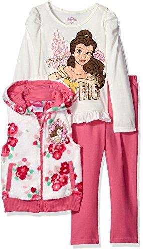 Disney Little Girls' Toddler 3 Piece Belle Vest Set T-Shirt and Legging Set, White, 2T Disney