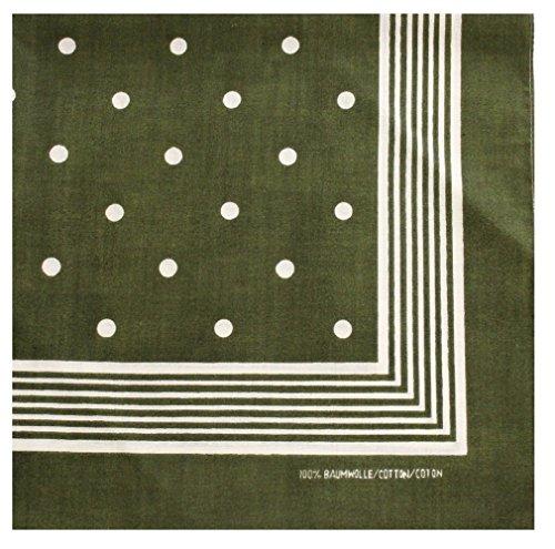 Tobeni 000803 Nickituch Kopftuch Bandana mit Punkte für Damen und Herren Halstuch aus 100% Baumwolle Farbe Grün Grösse 55 cm x 55 cm