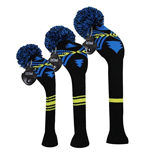 Black Yellow Blue Color Maya Totem Patern Style Golf Pom Pom Headcover, Set of 3, for Driver/Fairway/hybrid