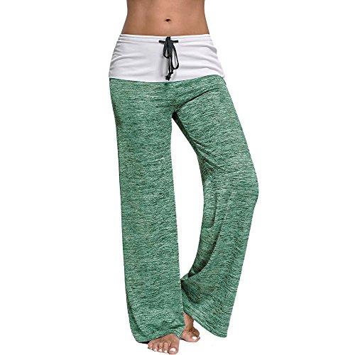 Loveso Frauen Casual Straight Bein-Hose mit Tunnelzug für Yoga und Jogger (L, Minzgrün) (Bleistift-bein-hose)