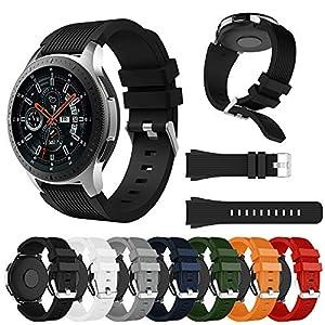46mm Samsung Galaxy Uhr Armband für Herren Damen,Weiches Gerader Streifen Silikon Uhrenarmband Ersatz Band Bügel
