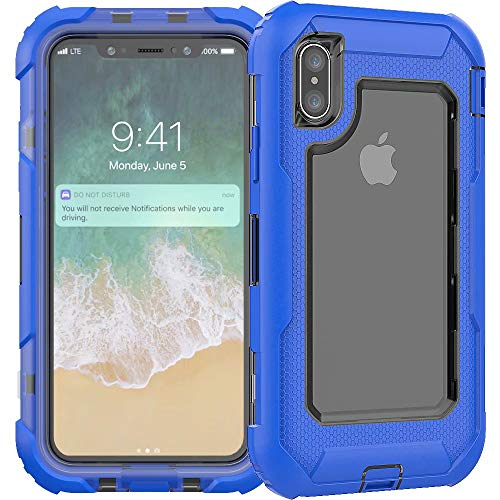 3C-LIFE iPhone6S Plus Heavy Duty Case, Triple Protective Layer Full Body Shockproof Bumper Case with Swivel Belt Clip and Kickstand für (Blue) Cellular Connection Interface