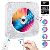 ‏‪CD Player Portable wowatt CD Music Player for Home Wall Mountable CD Player Bluetooth Home Audio Boombox HDMI Built-in HiFi Speakers Wireless Remote Control FM Radio MP3 Player Language Learning Kids‬‏