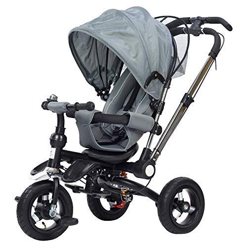 JBC 4 in 1 Dreirad Klappbar Kinderbuggy Tricycle für Kinder ab 6 Monate bis 5 Jahren, Kinderdreirad mit Abnehmbarer Buggy Auflage, Luftreifen, mit lenkender Schubstange