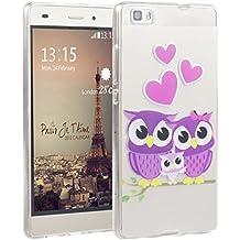 Huawei P8 Lite,P8 Lite Tapa,Asnlove cover funda carcasas de Gel TPU silicona transparente suave ultra delgada goma cubierta de tapa trasera case caso para Huawei P8 Lite-Familia de búhos