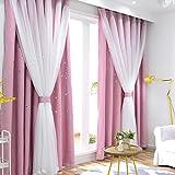 Nclon Prinzessin Wind Vorhänge gardinen,Sterne Licht blockiert Voile Thermisch isoliert Uv Schutz Vorhänge gardinen-Rosa 1 Panel W200cm*D270cm