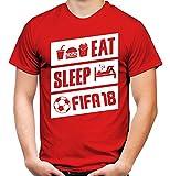 Eat Sleep FIFA 18 Männer und Herren T-Shirt | Fussball Gamer Geschenk (L, Rot)