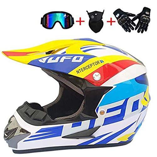 Cross Country Helm Goggles Handschuhe Maske Erwachsener Motorradhelm Motorrad Mountainbike Vier Seiten Vollgesichtskollision Helm DH Cross Country Downhill ATV Endurance Race Motorrad Mountainbike Mot -