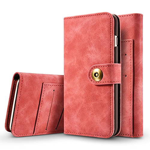 Hülle und Brieftasche,VENTER®removable protective sleeve, 2 positioning options, RFID protection, high-quality vegan leather, gift wrapping für Apple iPhone 7 Pink