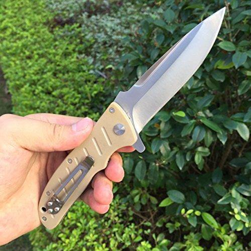 Enlan Messer EL-01 Groß Flipper Klappmesser Taschenmesser Einhandmesser mit Gürtelclip 9,2 cm Klingenlänge (Khaki)