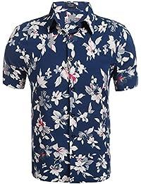 Coofandy Men Casual Short Sleeve Slim Floral Print Button Down Shirt