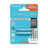 Panasonic eneloop lite, Ready-to-Use Ni-MH Akku, AAA Micro, 2er Pack, min. 550 mAh, 3000 Ladezyklen, geringe Selbstentladung, für Schnurlostelefone (DECT)