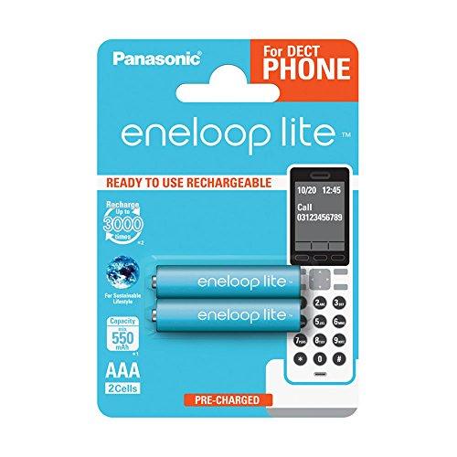 Panasonic eneloop lite, Ready-to-Use Ni-MH Akku, AAA Micro, 2er Pack, min. 550 mAh, 3000 Ladezyklen, geringe Selbstentladung, für Schnurlostelefone (DECT) (Nimh-aaa Panasonic)