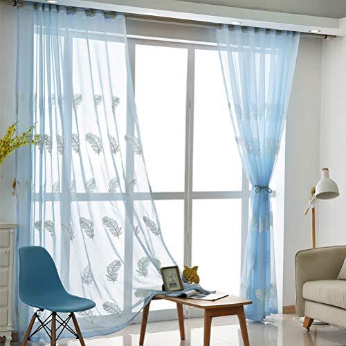 Vorhang mit Ösen Transparent Gardine Modern Wohnzimmer Stoff Gardinen Schlaufen für Gardinenstange Ösen plissiert zwei Panele Window Treatment,Blue,150 * 270/2
