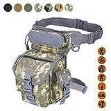 Military Tactical Drop Leg Tasche Fanny Oberschenkel Pack Bein Rig Paintball Softair Motorrad Reiten Versipack Thermite, schwarz/hellbraun/Armee Grün/Camouflage. 7 Farben, Desert Camouflage