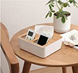 #2: House of Gifts 3 Compartment Rectangle Wooden Plastic Tissue Box Holder Dispenser