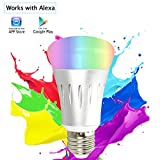 Bombilla Inteligente Luz Led Wifi Iluminación Inteligente Multicolor 20000 Horas 16 Millones de Colores 600Lm Control con APP Cabeza Plana