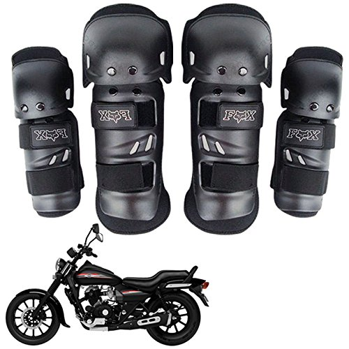 Vheelocityin Premium Quality Fox Motorcycle Riding Knee and Elbow Guard (Black, Set of 4)  available at amazon for Rs.349