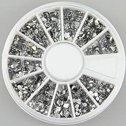350buy 12 Different Shape Glitter Silver Rhinestones Gems Nail Art + Wheel by 350buy