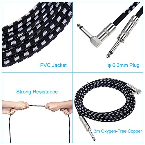 "Anpro Guitar Lead Cable 3m (10ft), 6.3mm (1/4"") Braided Guitar Instrument Cable for Electric Guitar Bass Keyboard - Straight Jack to Angled Jack Tweed Cable"