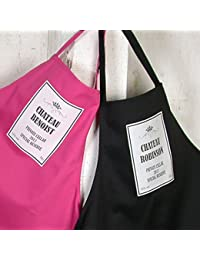 "Apron - Personalised ""Chateau Wine Label"" design on black apron. Add your choice of Chateau name in the gift message box. (See our other listing for pink apron)"