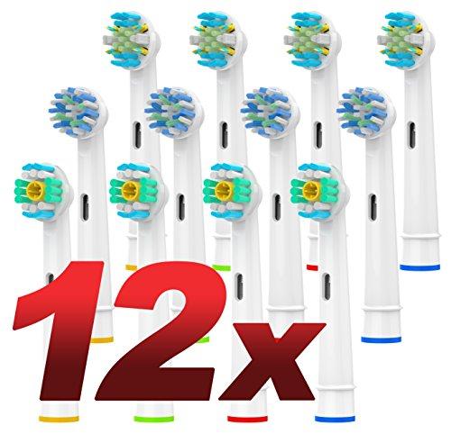 OhmniPax Multi Pack Aufsteckbürsten für Oral B Elektrische Zahnbürsten, 3DWhite, Precision Clean, CrossAction Aufsteckbürsten, Voll kompatibel mit Braun Oralb Vitality, Pro Health, TriZon-12 Pack