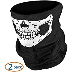 NIKAVI Black Seamless Skull Face Tube Mask Pack (2)