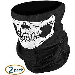 NIKAVI Black Seamless Skull Face Tube Mask Pack (2)