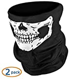 #7: NIKAVI Black Seamless Skull Face Tube Mask Pack (2)