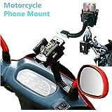 360º ajustable soporte universal motocicleta teléfono móvil Garmin GPS Soporte para ATV Scooter giratorio Motocicleta Espejo Retrovisor Soporte para iPhone 6S/6/5S/4S/iPod/GPS/MP4/Samsung S7/S6/Edge etc.