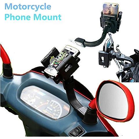 - Soporte universal para motocicleta, ajuste a espejo retrovisor, apto para iPhone 6S/6/5S/4S/iPod/GPS/MP4/Samsung S7/S6/Edge,