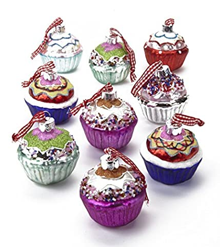 Set of 9 Large Painted Glass Cupcake Christmas Tree Decorations in Pastel and Bright Colours Approx 6cm Cup Cake by Heaven